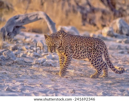 Digital oil painting of young male leopard - stock photo