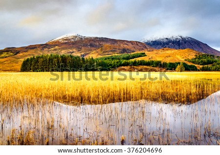Digital oil pastel sketch from a photograph of Beinn na Caillich & Loch Cill Chriosd, Isle of Skye in the highlands of Scotland on a sunny day with snow capped mountains and reflections on the water