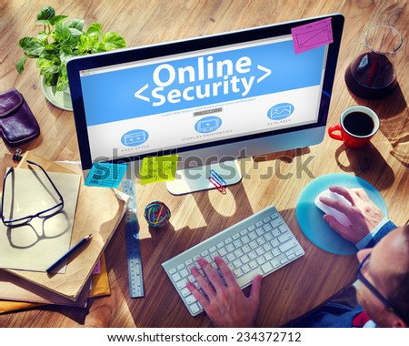 Digital Online Business Security Network Working Concept - stock photo