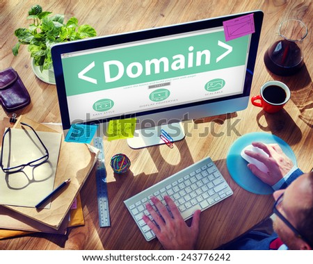 Digital Online Domain Internet Web Hosting Working Concept - stock photo