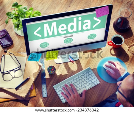 Digital Online Social Media Networking Office Working Concept - stock photo