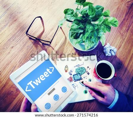 Digital Online Social Media Networking Tweet Sharing Concept - stock photo