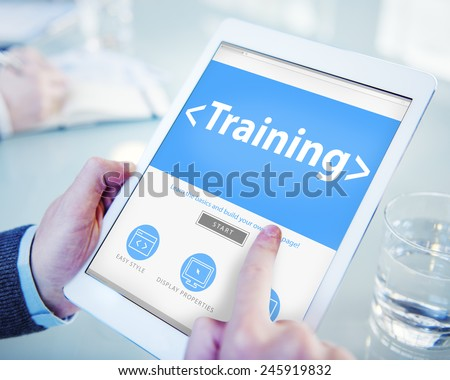 Digital Online Training Mentoring Learning Education Browsing Concept - stock photo