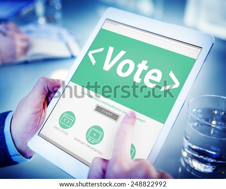 Digital Online Vote Democracy Politcs Election Government Concept - stock photo