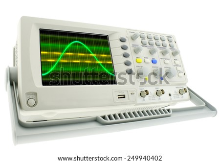 Digital oscillograph isolated on white background - stock photo