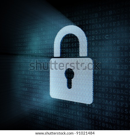 Digital padlock, 3d render - stock photo