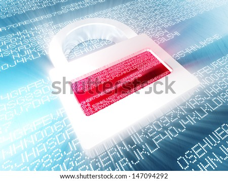 digital padlock on 3d code background - stock photo