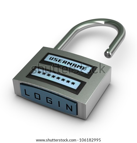 digital padlock with user name and password plus login button opened over white background with shadow