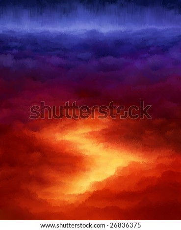 Digital painting - abstract clouds in impressionistic style - stock photo