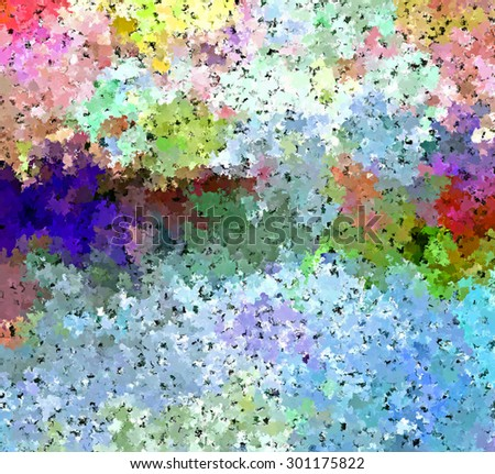 Digital Painting Beautiful Abstract Water Color Paint Colorful Floral Fields in Pastel Colors Background - stock photo