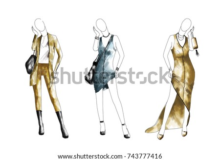 pencil sketches dress designs stock images royaltyfree