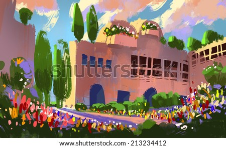 digital painting of a castle of flowers - stock photo