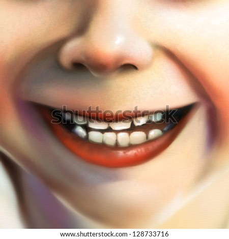 digital painting of a close up view of a little girl's smile - stock photo