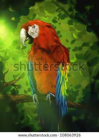 digital painting of a colorful red macaw perched on a branch in a lush green jungle canopy - stock photo