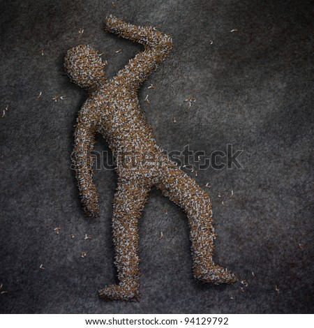 digital painting of a deceased human figure made of cigarette butts - stock photo