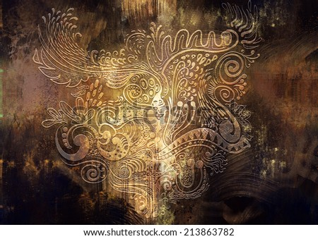 digital painting of a graphic art in abstract grunge  background - stock photo