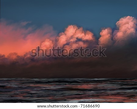 digital painting of a pink clouds on a blue sky reflected in rolling ocean waves