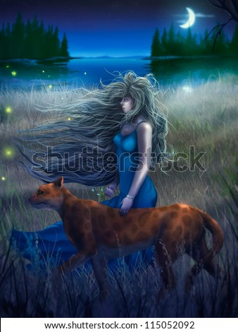 digital painting of a woman and a large cat walking through tall grass near a crescent moon reflected in dark water - stock photo