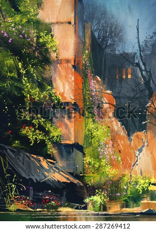 digital painting of abandoned building covered with vegetation,illustration