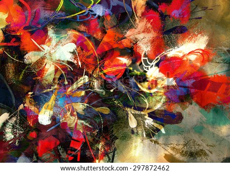 digital painting of abstract bright colorful flowers - stock photo