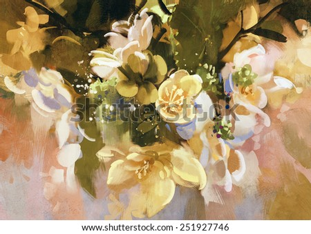 digital painting of abstract flowers - stock photo