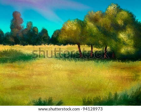 digital painting of an island of trees in a yellow field of grass - stock photo