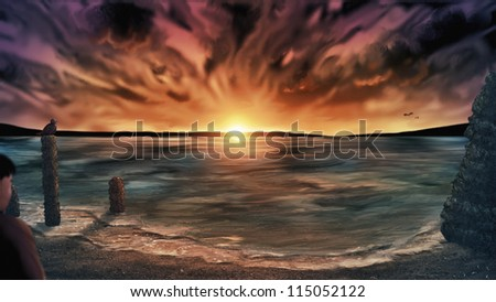 digital painting of an out of focus person standing on a beach under a surreal cloudy sunset sky - stock photo