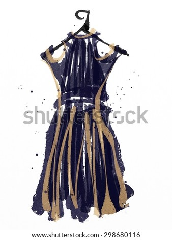 digital painting of blue and brown color dress,  abstract art illustration, watercolor on paper texture
