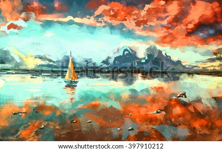 Digital painting of  boat in the ocean at sunset. Rastr stock llustration - stock photo