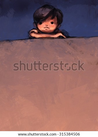 digital painting of boy on top of concrete wall, oil color on canvas texture - stock photo