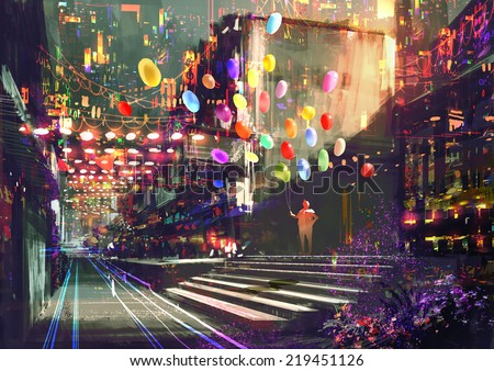 digital painting of colorful alley - stock photo
