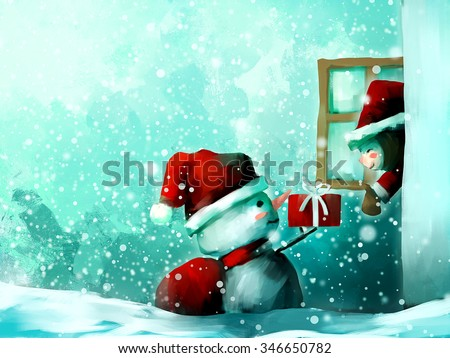 digital painting of cute girl with snowman in wintertime, oil on canvas texture - stock photo