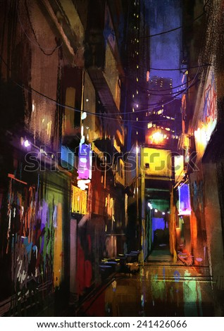digital painting of dark alley at night - stock photo