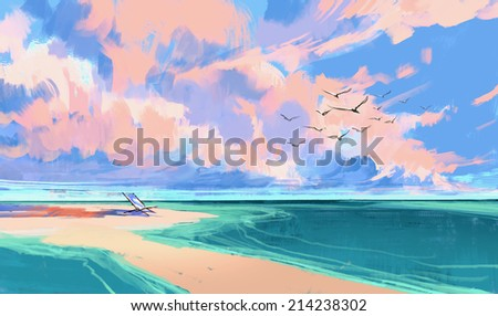 digital painting of deck chair on the beach - stock photo