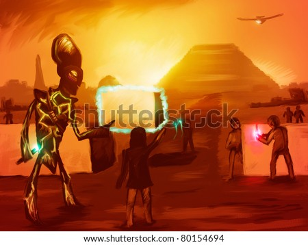 digital painting of extraterrestrials helping ancient man build the pyramids - stock photo