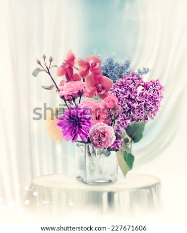 Digital Painting Of Flowers In Vase - stock photo