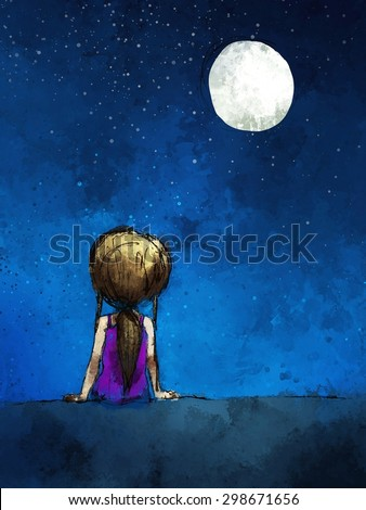 digital painting of  girl sitting lonely in the moonlight, watercolor on paper texture - stock photo