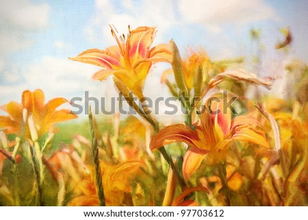 Digital Painting of orange lily flowers in field - stock photo