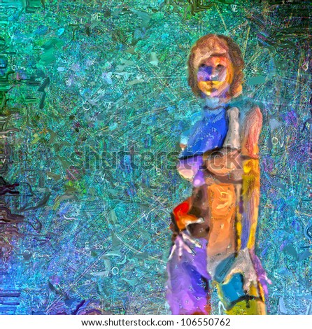 Digital Painting of painted woman - stock photo
