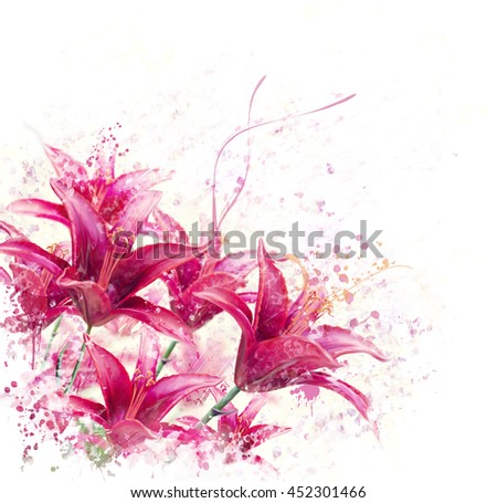 digital painting of  Red Lily Flowers  - stock photo