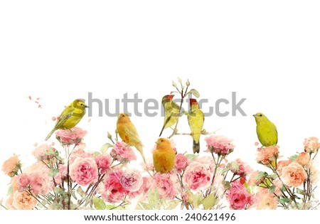 Digital Painting Of Rose Bushes And Yellow Birds - stock photo