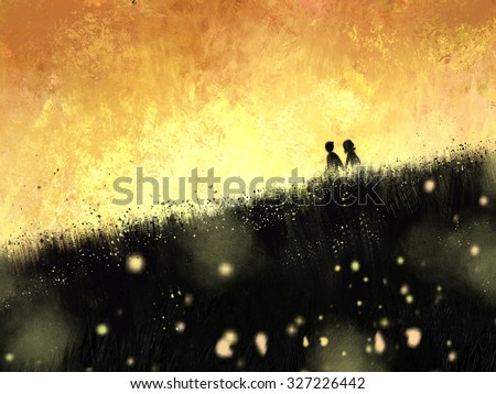 digital painting of sunset with couple in the meadow, oil on canvas texture - stock photo