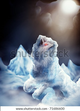 digital painting of the ice wolf, Fenrir of Norse mythology, imprisoned in ice - stock photo