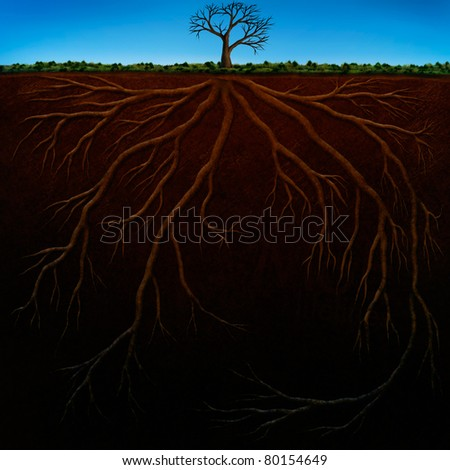 digital painting of underground tree roots - stock photo