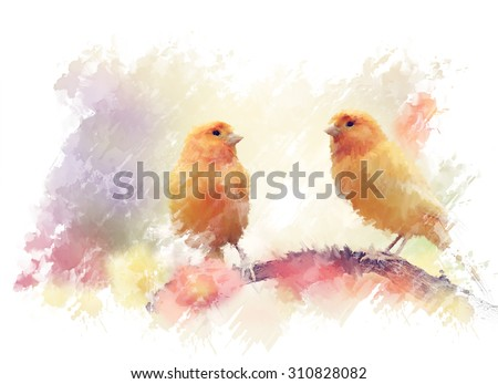 Digital Painting of Yellow Birds In The Garden - stock photo