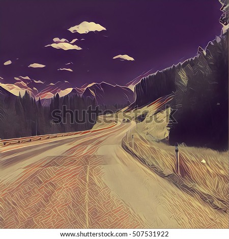 Digital Painting - Road to the Mountains
