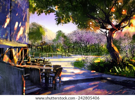 digital painting showing beautiful sunny in the park - stock photo