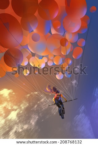 Digital painting showing the colorful balloons  - stock photo