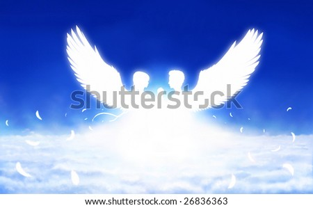 Digital painting - silhouettes of man and woman as angels from sunlight - stock photo