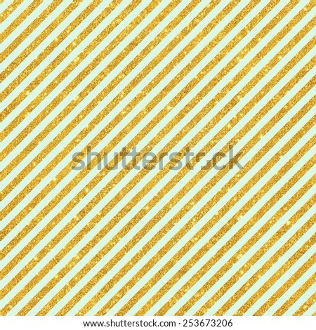 Digital Paper for Scrapbook Mint & Gold Glitter Diagonal Stripes Pattern seamless Texture Background - stock photo